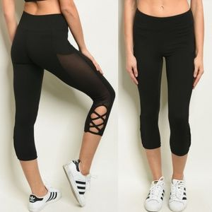 Black Leggings with Mesh Detail